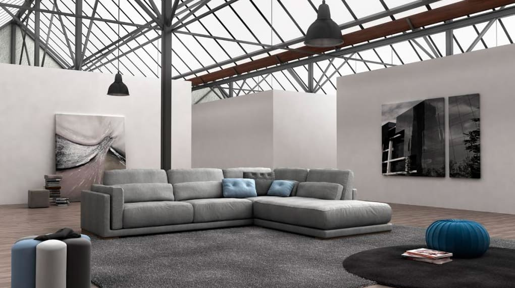 Chaise longue tapizado en gris