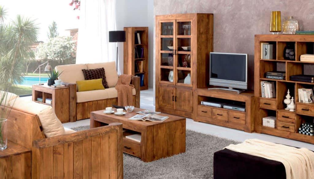 Salón rústico marrón madera