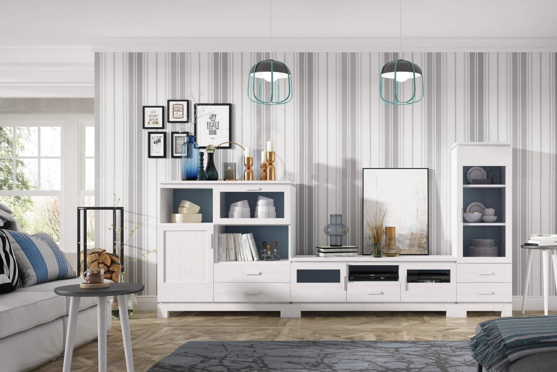 Salón rústico completo color blanco