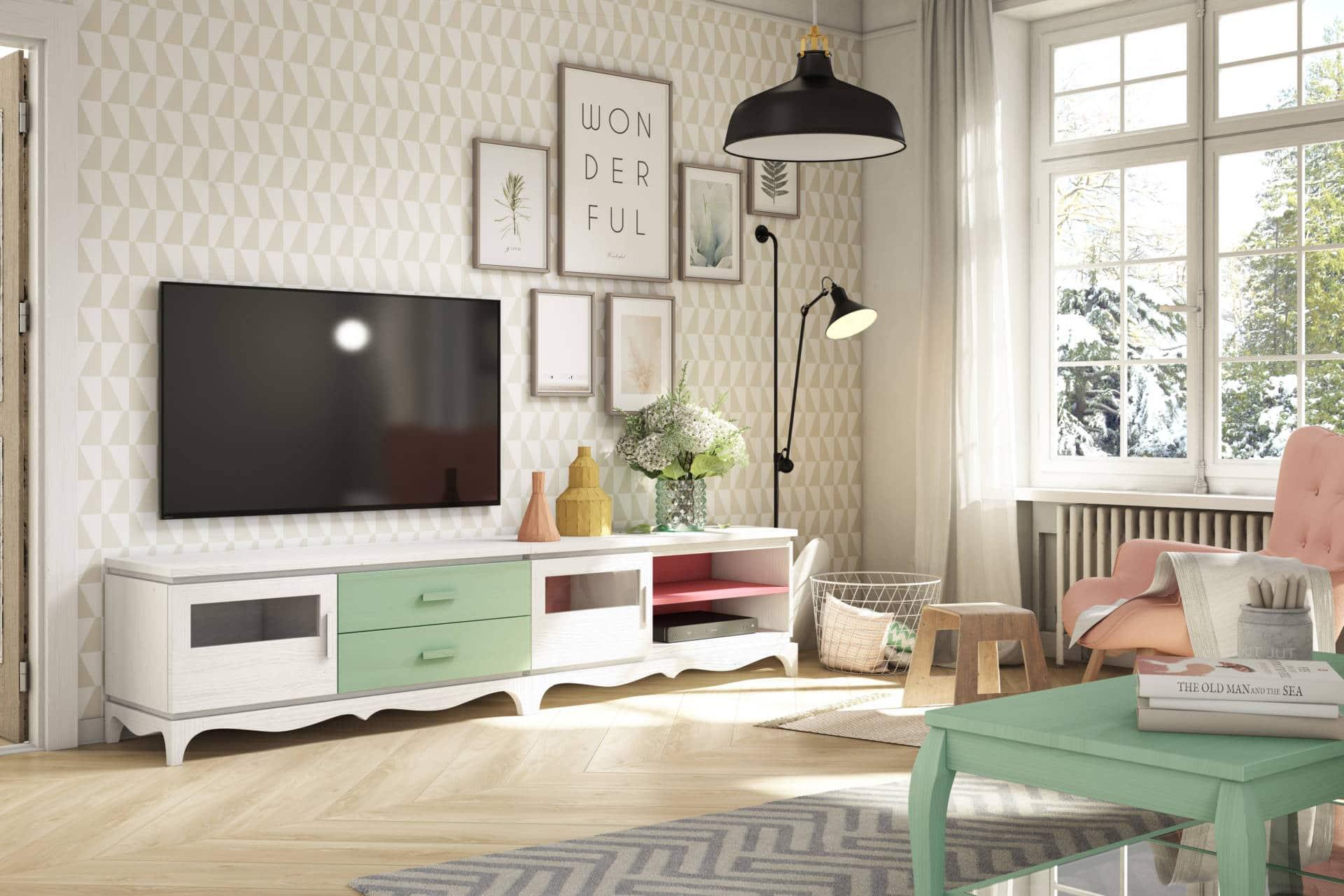 Muebles de Salón Rústico blanco y marrón