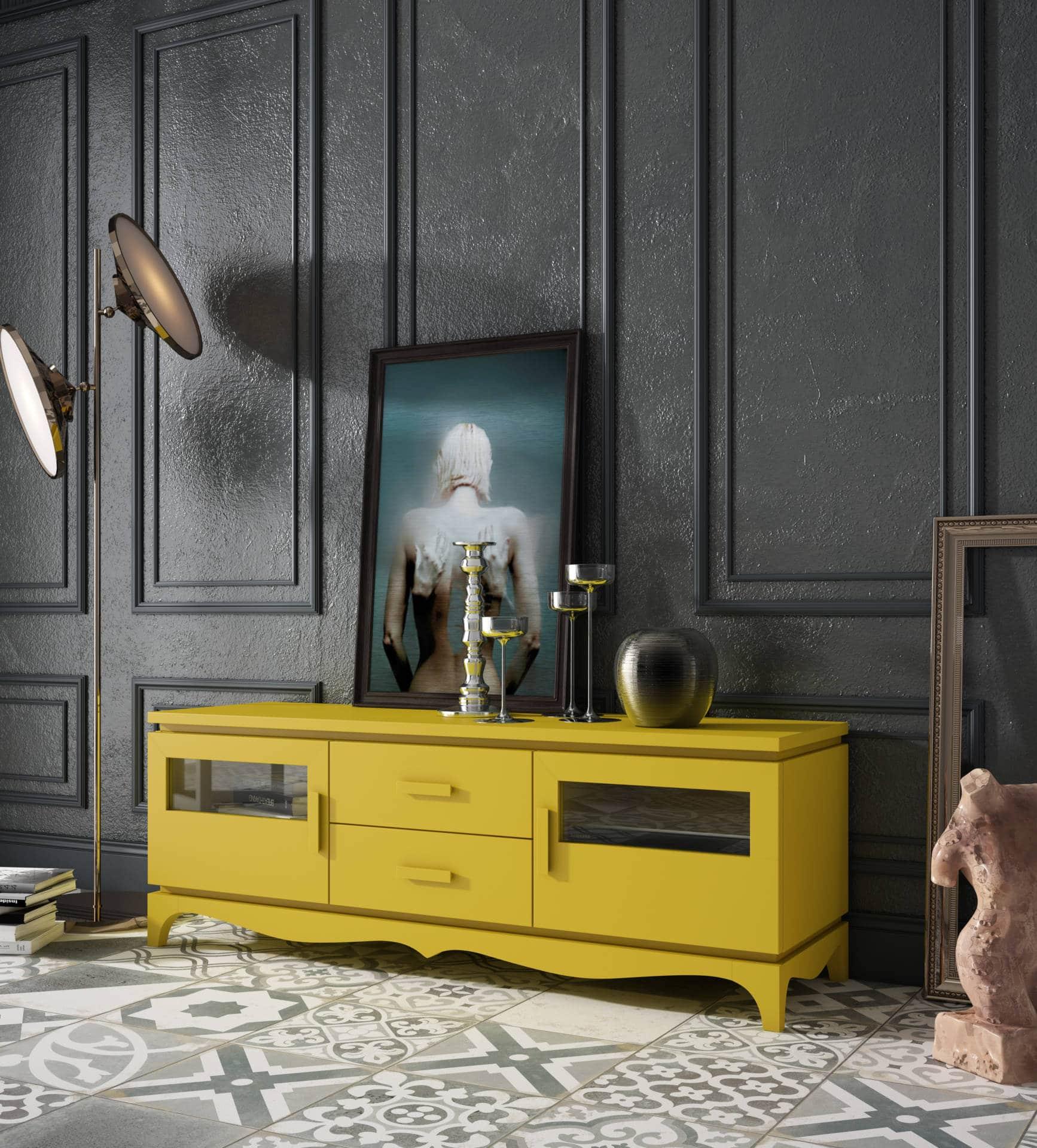Mobiliario salón rústico dos colores