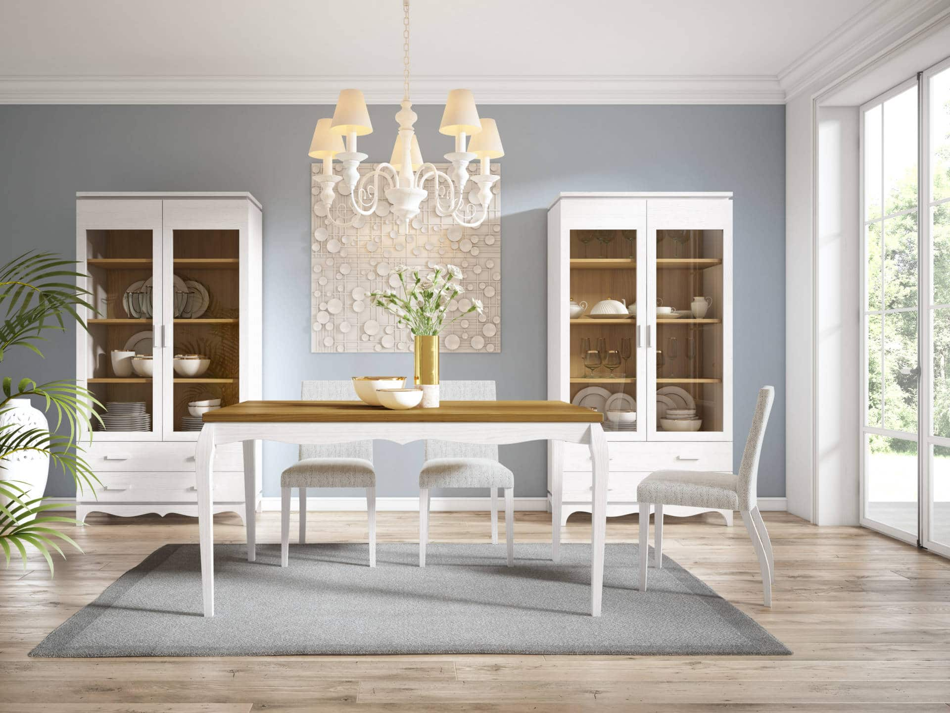 Mobiliario salón rústico marrón y blanco