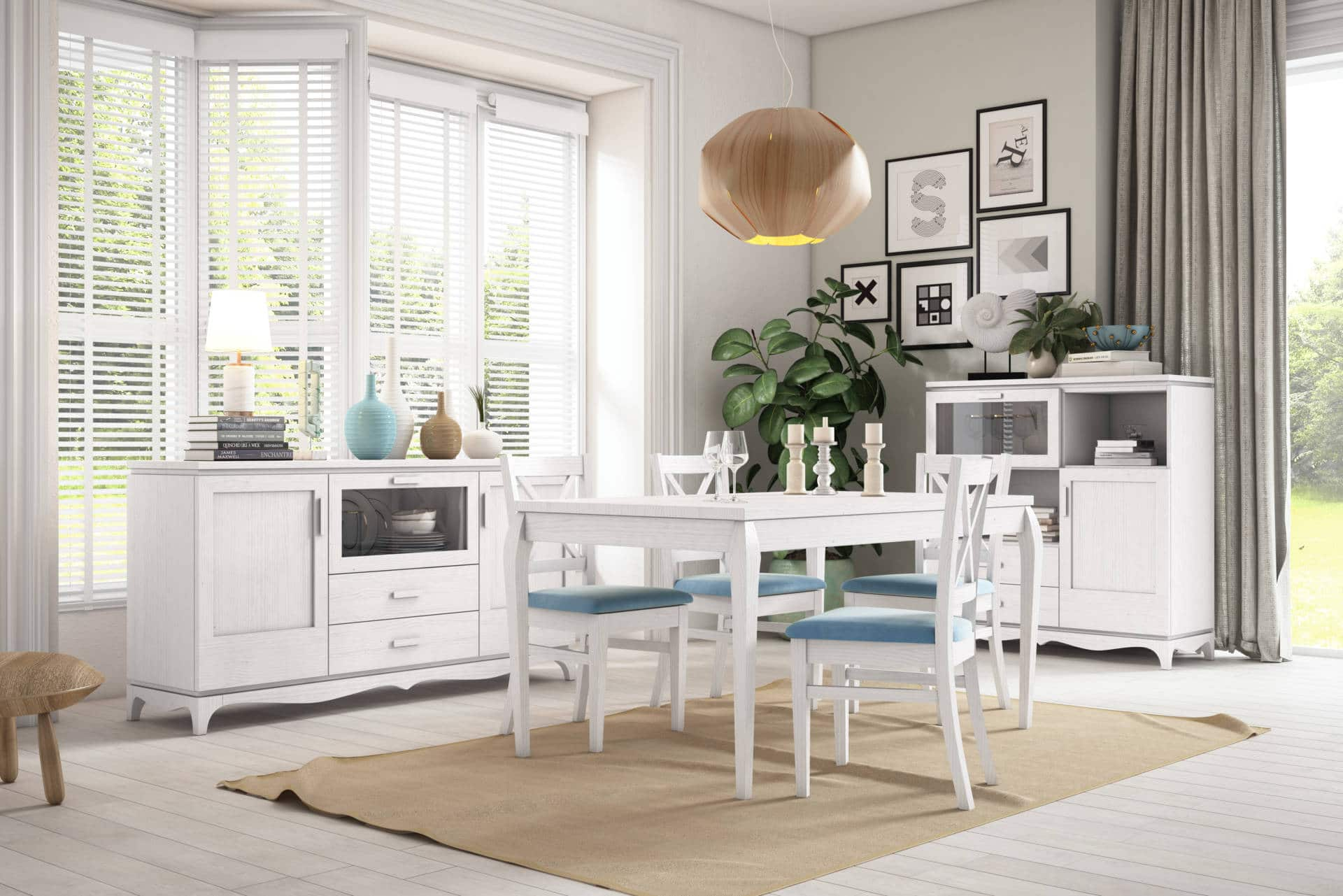 Mobiliario salones rústicos azul y blanco