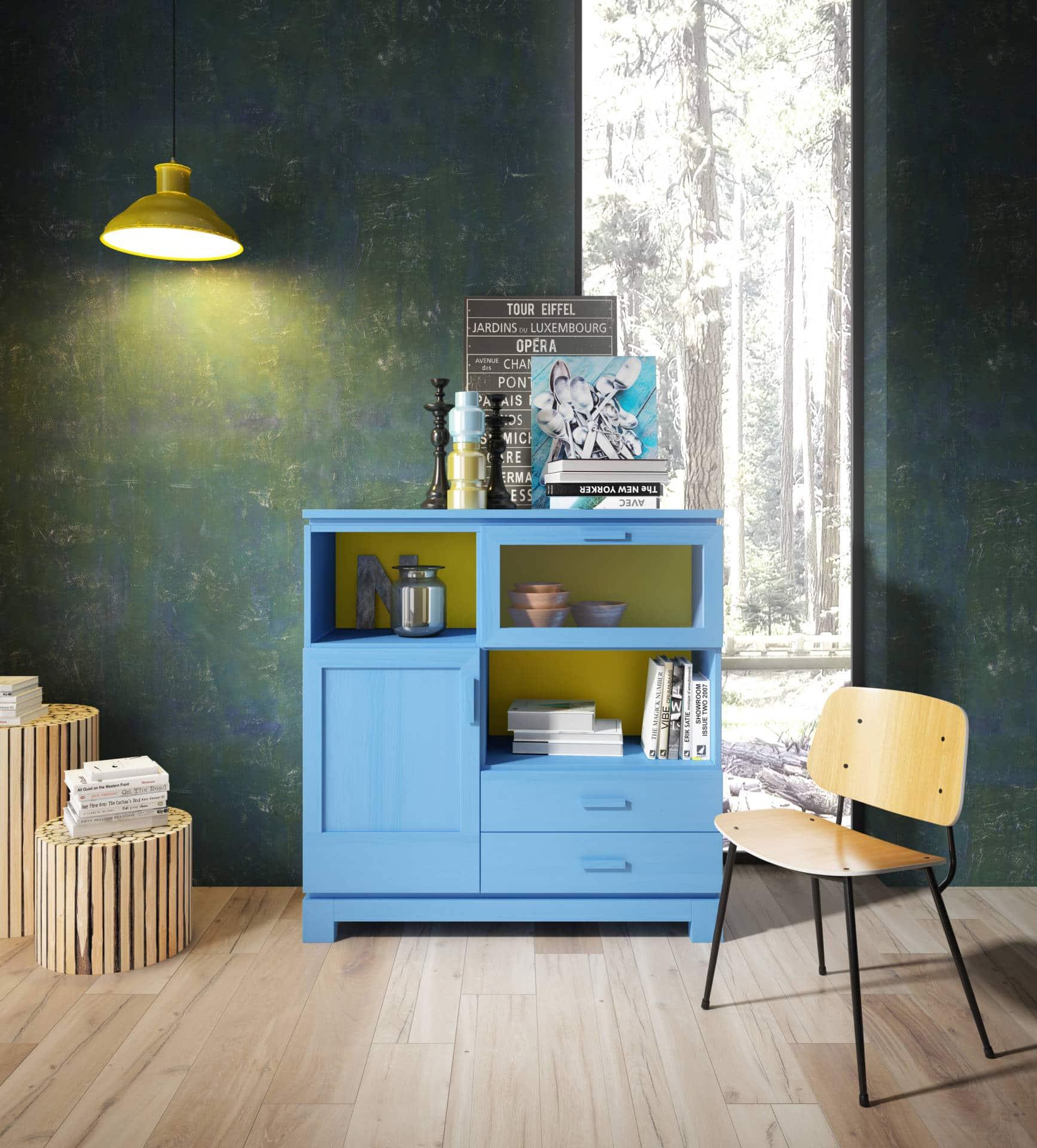 Salón rústico color turquesa
