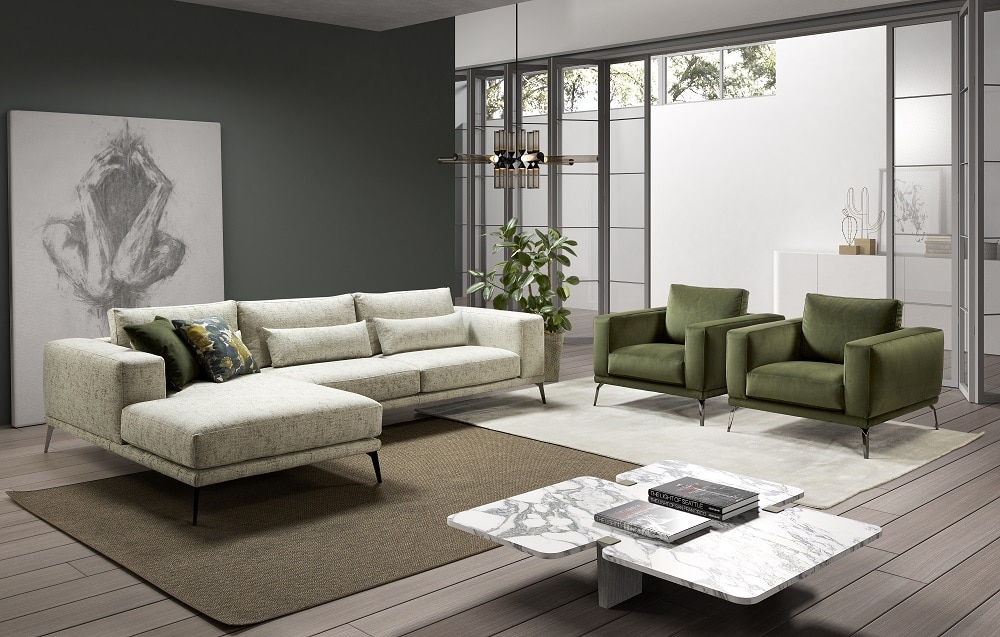 Sofá con tapicería clásica blanca