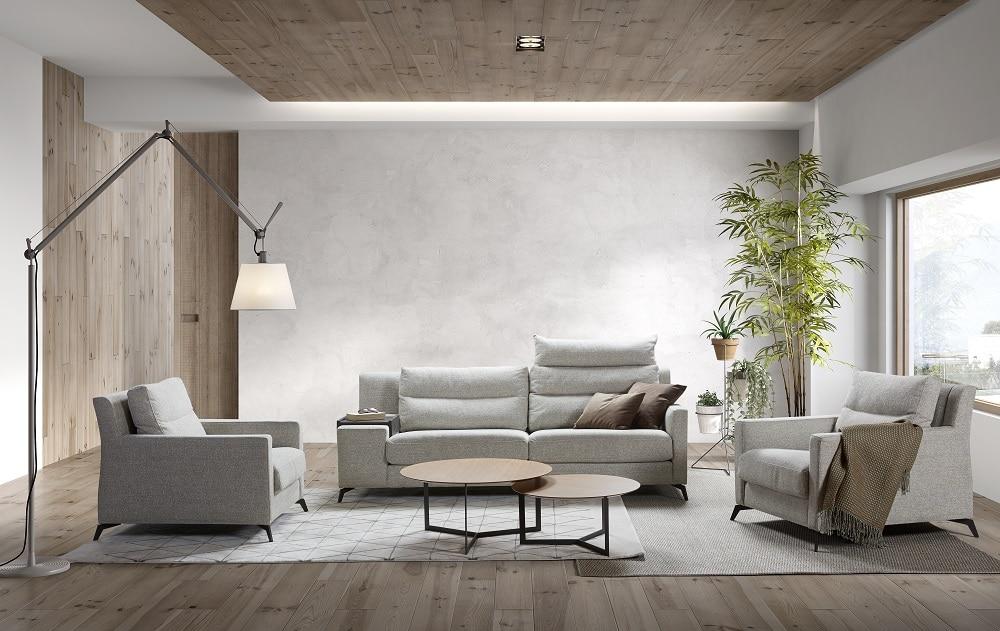 Mueble sofá clásico tapizado blanco